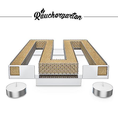 Räuchergarten Kaltrauchgenerator - Sparbrand Kaltraucherzeuger aus Edelstahl - für Kugelgrill, Smoker und Räucherofen