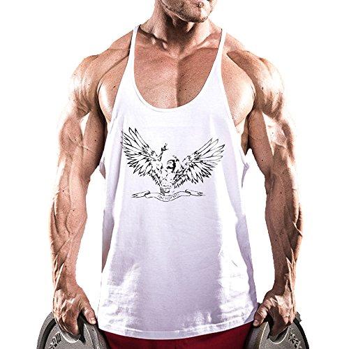 Alivebody Männer Ärmelloses Bodybuilding Weste Tank Top Undershirt Weiß