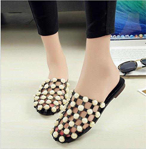 LDMB Sommer-Cloes-Toe hohle runde Perle halbe Pantoffeln römische flache Frauen Sandalen coole Pantoffeln Black