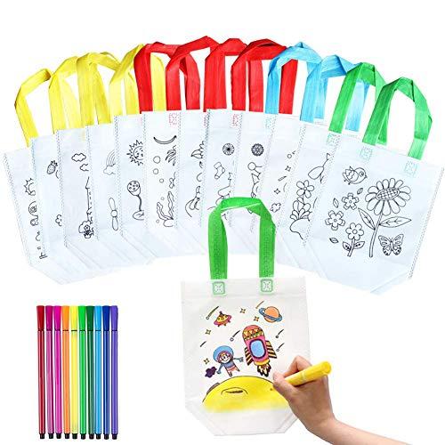 QYY DIY Kinder Stoffbeutel Set,12 Verschiedene Designs Graffiti Taschen mit 10 Malstiften, Ideal für Geburtstagsfeier Geschenke, Kommunionen, Schulen, Kindergarten und Feiern