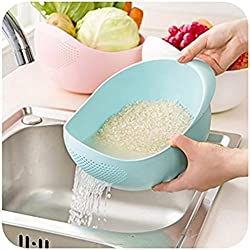 Mosquick® Big Size Rice Pulses Fruits Vegetable Noodles Pasta Washing Bowl & Strainer,(Blue)