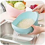 #9: MosQuick Big Size Rice Pulses Fruits Vegetable Noodles Pasta Washing Bowl & Strainer, (Blue Colour)
