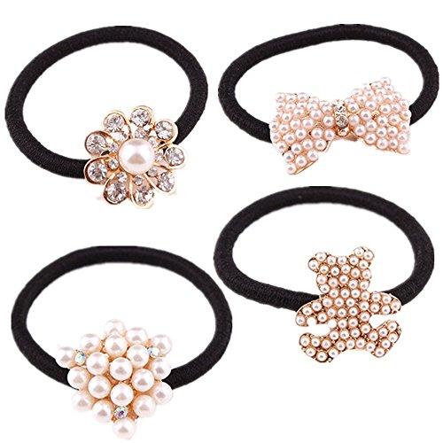 cuhair (TM) 4 pièces assorties Fille Fleur Perle femmes Full Force Queue de cheval élastique de cheveux Cravates bandes Corde en caoutchouc ou accessoires