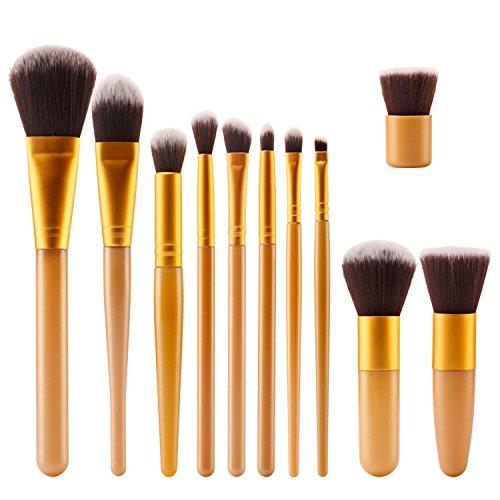TOPBeauty Kit de Pinceau maquillage Professionnel 11 PCS Ombre a Paupiere Dore Blush Fondation Pinceau Poudre Fond de teint Anti-cerne Kit Pinceaux Gold