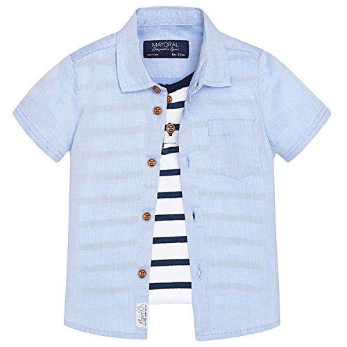 Mayoral Baby Jungen Kombi Kurzarm-Hemd mit Brusttasche. blau - 1155b. Größe 92