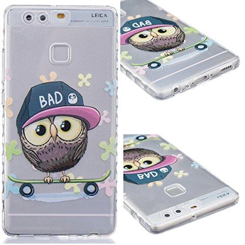 GrandEver TPU Cover per Huawei P9, UltraSlim Trasparente Morbido Gel Silicone Custodia Flexible Soft Protettivo Anti-graffio Case Copertura Disegno Bella - Cappello Owl