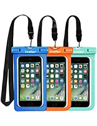 [IPX8 Certificado] iVoler [3 Unidades] Funda Bolsa Móvil Impermeable Universal 6.2 Pulgadas para iPhone X, 8, 8 Plus, 7, 7 Plus,6 / 6s Plus, SE 5S 5C, Samsung Galaxy S9/S9 Plus/S8/S8+/S7/S7 Edge, Huawei P20/P20 Lite/P10/P10 lite, BQ Aquaris, LG, Sony, Motorola, Monedas, Pasaporte, etc. (Azul+Verde+Naranja)