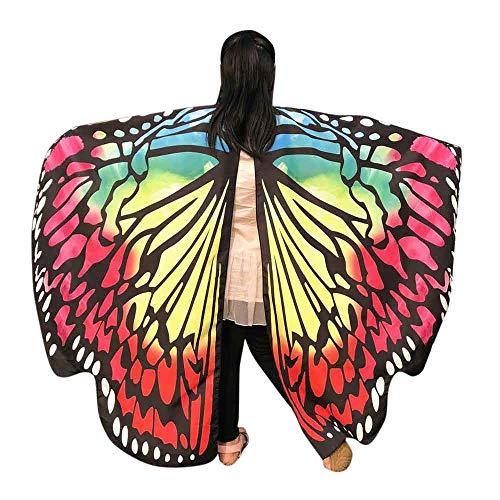 WOZOW Kinder Schmetterling Flügel Kostüm Nymphe Pixie Umhang Faschingkostüme Schals Poncho Kostümzubehör Zubehör (Mehrfarbig 2)