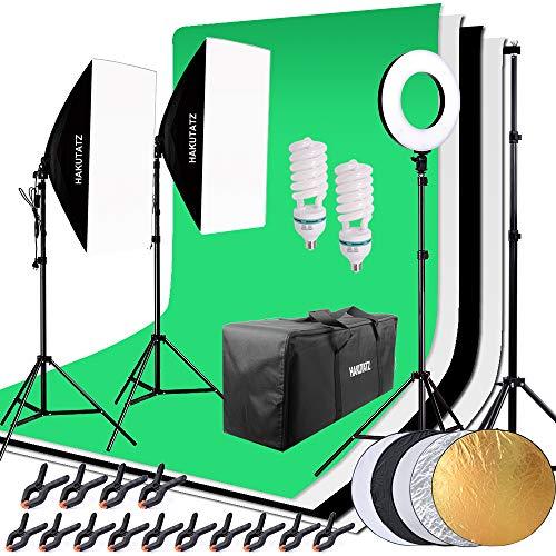 HAKUTATZ® Profi Fotostudio Set Studiosets Hintergrundsystem Greenscreen Softbox Ringlicht mit Schutztasche Studioleuchte Set