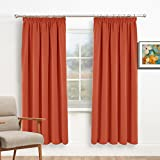 "Window Treatments Pencil Pleat Curtains - PONY DANCE Premium Room Darkening Thermal Insulated Blackout Soft Curtain Draperies for Kid's Room & Home Decoration, 2 Panels, W 46"" by L 72"", Orange"
