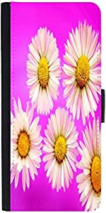 Snoogg Daisies Graphic Snap On Hard Back Leather + Pc Flip Cover Moto-G