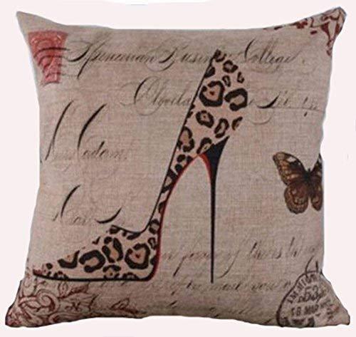 Cotton Linen Square Decorative Throw Pillow Case Personalized Cushion Cover Leopard Pattern High Heel Shoe 18 X 18 ... Leopard Satin-heels