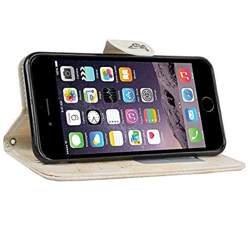 We Love Case pour Apple iPhone 6S iPhone 6 Etui Housse Coque PU Cuir Portefeuille Étui Shell Bumper Couverture avec Fonction Stand Fermeture Aimantée à rabat Coque de Téléphone Hull Flip Back Cover Co Beige