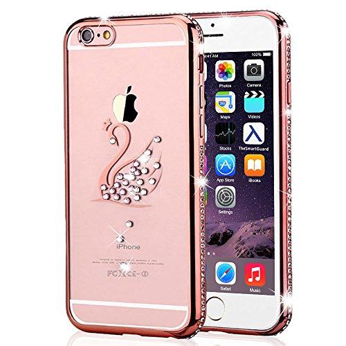 iPhone 6S Plus & 6 Plus Hülle Glitzer-Strass Case Schutzhülle (5,5 Zoll) im stylishen Glamour glitzer Crystal Look mit Strassteinen und Aufdruck für das iPhone 6S-6 Plus - Farbe: Rosé -Rose - Nur orig rose - Schwan