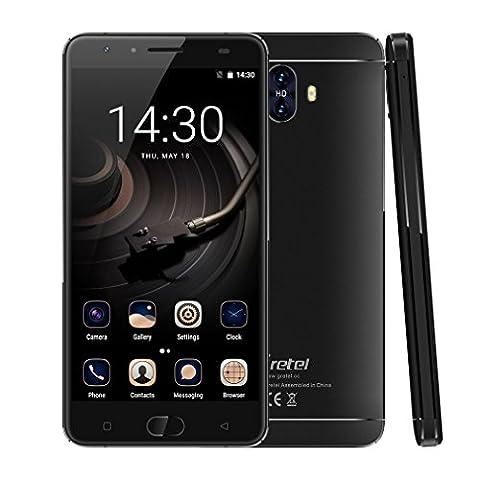 GRETEL GT6000 4G Smartphone - Android 7.0 Smartphone ohne Vertrag (5,5 Zoll Touch Display, Dual Sim, 2GB+16GB interner Speicher, 5MP Frontkamera + 13MP Doppelkamera, Metallrahmen, Front Fingerabdruck Touch ID, nutzbares (Sim Ohne Vertrag)
