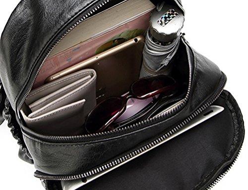 NiSeng Damen Rucksack Casual Mode Backpack Schulrucksäcke Tasche Daypack Reiserucksack Schwarz