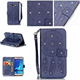 Coque J5 (2016),Cozy Hut® Coque Samsung Galaxy J5 (2016) J510 Bookstyle Étui Housse en Cuir Case, Motif Gaufrage Feather Campanula Dreamcatcher Etui Housse Cuir PU Portefeuille Folio Flip Case Cover Wallet Coque Protection Étui avec Flex Soft Silicone TPU et Fonction Support Fermeture Aimantée Carte de crédit Logement Poches Case Coque Housse Étui pour Samsung Galaxy J5 (2016) J510 - bleu marine