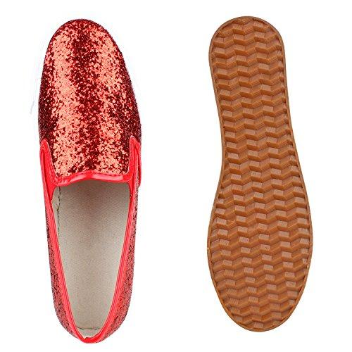 Komfortable Damen Sneakers | Bequeme Slipper| Funkelnde Glitzerapplikationen | Modische Plateausohle | Gr. 36-41 Rot