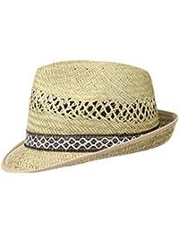 Erntehelfer Strohhut (Sonnenschutz) für Damen und Herren, cooler und modischer Sonnenhut im Trilby Look für den Sommer am Strand oder im Urlaub, Größe 53, Farbe natur