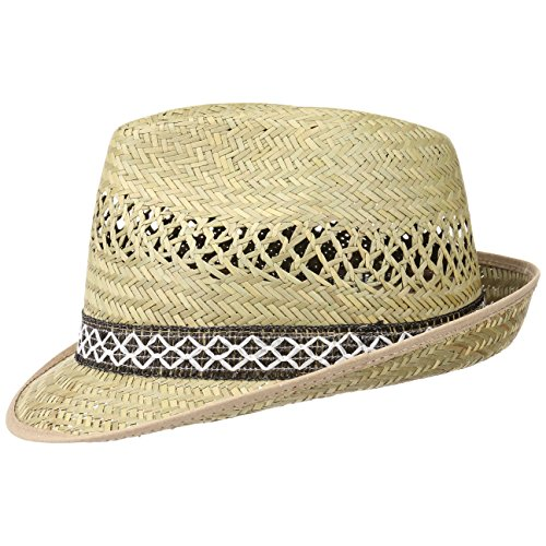 Erntehelfer Strohhut (Sonnenschutz) für Damen und Herren, cooler und modischer Sonnenhut im Trilby Look für den Sommer am Strand oder im Urlaub, verschiedene Größen, Farbe natur, Gr: 54 cm
