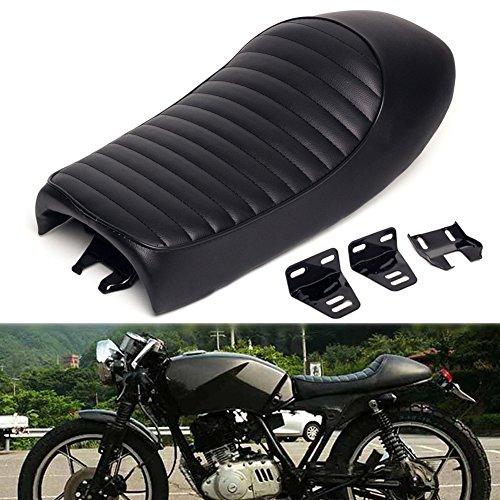 Triclicks Schwarz Motorrad Hump Vintage Retro Cafe Racer Sitz Sitzsattel Sitzbänke Sitze Für Honda CB Yamaha SR XJ Suzuki GS (Schwarz, Gewöhnlicher konvexen Sitz) (Sr Racer)