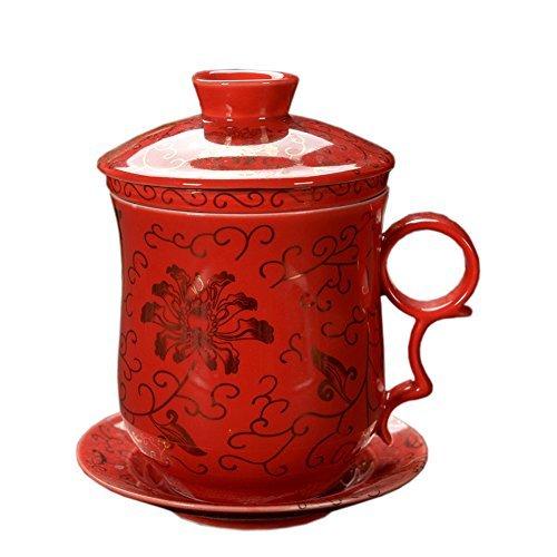 Gold Blumen Muster Chinesisch Tee Tassen Rot Tee Becher, Jingdezhen Bone China Tee Cup Mit Filter Und Untertasse,Für Geschenk Und Haushalts, Büro, 300Ml - Billig Ofen-filter,