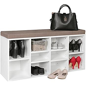 songmics schuhschrank mit sitzkissen f r 10 paar schuhe stiefel bank schuhregal schuhbank flur. Black Bedroom Furniture Sets. Home Design Ideas