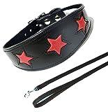 Schwarz mit Rot Star Halsband Hundeleine Set 4Größen Gepolstert und Innenseite aus Wildleder Whippet Greyhound Hund Halsband