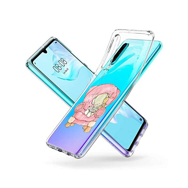 Oihxse Animal Serie Case Compatible con Huawei Honor 7A/Y6 2018 Funda Transparente Suave Silicona Elefante Conejo Patrón… 2