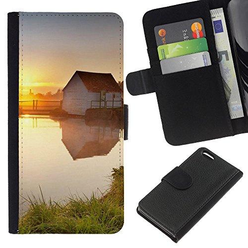 Ihec-Tech / Flip étui Housse en cuir avec des fentes de cartes pour Apple iPhone 5C - Sunset Beautiful Nature 78