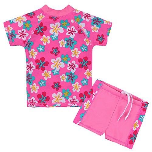 HUANQIUE Mädchen 2Stück HotPink Longsleeve Badeanzug Summmer Print Blumen Sun Schutz Anzug, Kinder, B 2 Pieces, 4-5Y(Tag No.116/122) -