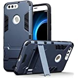 Coque Honor 8, Terrapin Double Couche Étui Rigide avec Fonction Stand pour Huawei Honor 8 Étui - Bleu Foncé