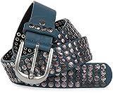 styleBREAKER Cintura con borchie in design vintage con borchie a stella, accorciabile, unisex 03010050, colore:100cm, colore:Jeans blu