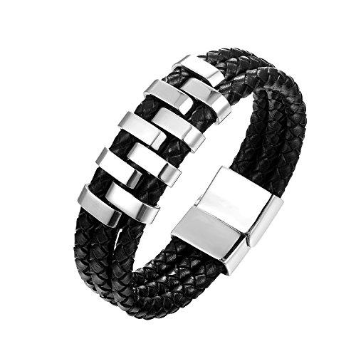 Chomay Herren Edelstahl Armband Geflochten Lederarmband Armreif Bracelet Rindsleder 316 Titanstahl...