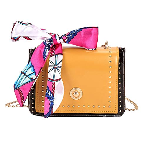 Ledertasche, Schultertasche, Geschenk, Handgefertigte Tasche,Mode Dame Retro Seidenschal transluzente vielseitige Umhängetasche Messenger Bag ()
