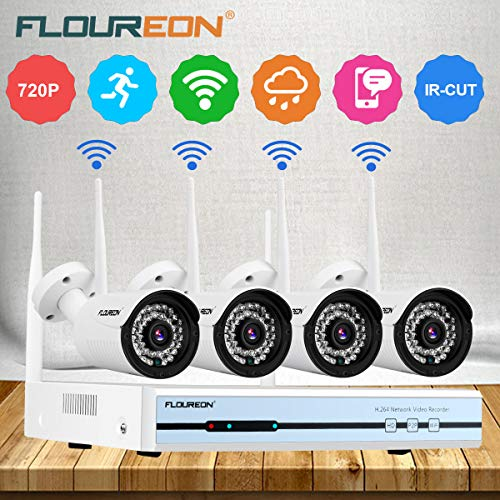 Floureon 4CH Wireless CCTV 1080P DVR Kit WiFi WLAN 720P IP-Kamera-Sicherheits-Videorecorder NVR-System EU