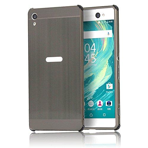 Sunroyal® Custodia Sony Xperia XA Ultra, Bling Strass Case Cover Specchio in Alluminio Staccabile Frame (Genuino Nero Piastra)