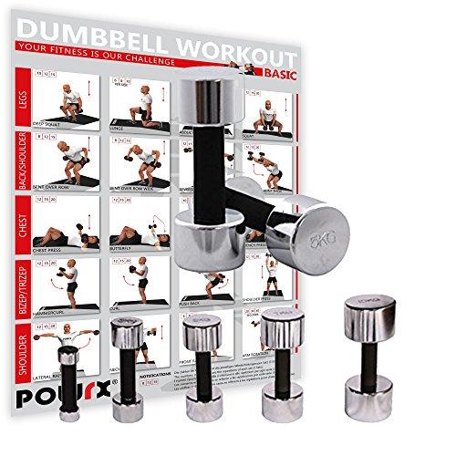 POWRX Kurzhanteln 2er Set | Hantelset Chrom mit Schaumstoffgriff | 5 Gewichtsvarianten 1kg 3kg 5kg 7kg 10kg | Kurzhantel-Set für Fitness-Übungen (2 x 5 kg)
