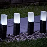 Set von 4Rattan-Solar-Gartenleuchten, Bodenlichter vonGloBrite, weiße LED