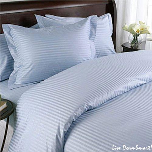 bedding- Ägyptische 400Thread Count 6pc Set Bettbezug + Spannbetttuch Euro Double IKEA Sky Blau gestreift 100% ägyptische Baumwolle (6pc-duvet-set)