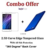 WOW Imagine Combo Pack of 2.5D 0.3mm Toughened Tempered Glass Screen Protector and All Sides Protection 360 Degree Sleek Rubberised Matte Hard Back Case Cover (Blue) for XIAOMI MI REDMI 4A