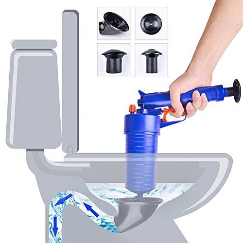 Pressluft Rohrreiniger WC Plunger mit Handlichem Pistolengriff und 4 Aufsätzen für Bad und Küche, Blau für Bad und Küchenspüle