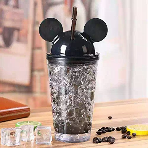 Satyam Kraft Acrylic Frosty(pack of 1) Cartoon Mason jar with Freezing Gel for Juice,Soft Drinks,gift for Diwali/gift for birthday/gift for kids/gift/Diwali gift idea/gift for friend ,400 ml ( BLACK )