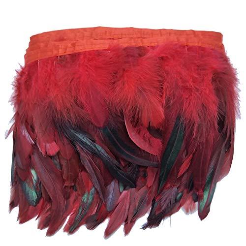Trimming Shop 2 Meter Schwarze Hahnenfedern natürliche Hahnfeder für Dekoration Schmuck Kostümmhut Kunst Basteln Hochzeit Party Zubehör Mixed Red