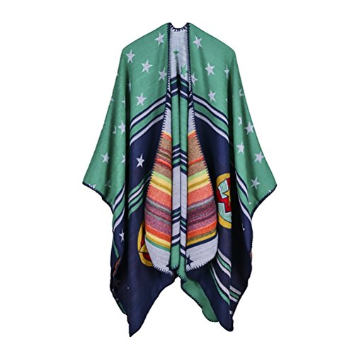 Ponchos For Women Mantelle Knitted Donna Vintage Geometrie Pattern Moda Elegante Autunno Cardigan Inverno Casual Cape Reversibile Cachemire Poncho Mantellina Scialle Top Plus Size Verde