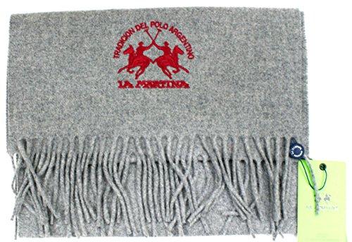 La Martina Sciarpa Unisex Logata Made in Italy Cm 180x30 Grigio