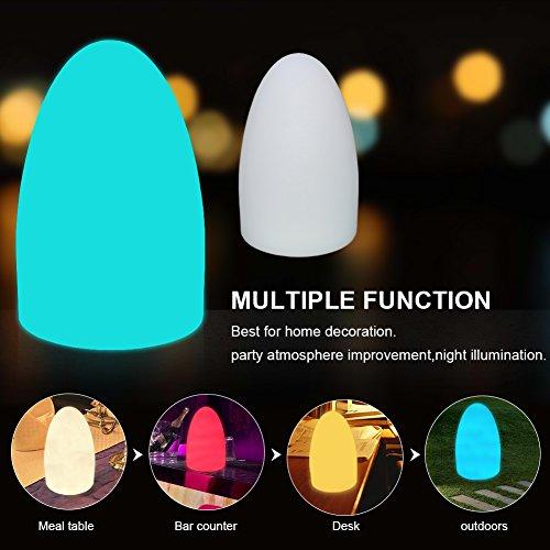 LED Dimmbar Nachttischlampe mit Fernbedienung, Ei-Form Licht Farbwechsel Stimmungslicht Ei-Nachtlicht Tischlampe für Kinderzimmer mit Wiederaufladbar Batterie und 16 RGB Farben