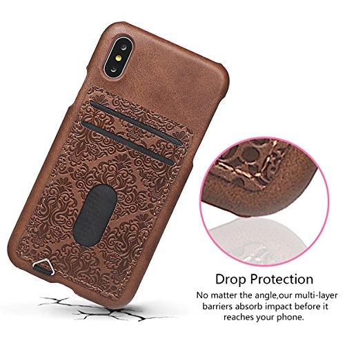 xhorizon Coque arrière mince de portefeille en cuir gaufré mural avec support de la carte de crédit pour iPhone X / iPhone 10 Marron