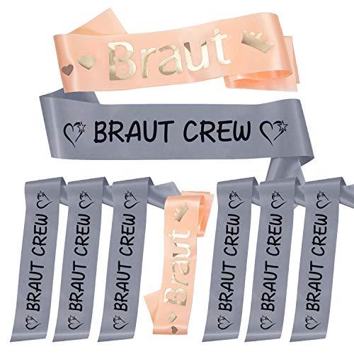 Oblique Unique® Braut + Braut Crew Schärpe Set für Junggesellinnenabschied JGA Hochzeit Hen Party in Grau Lachsfarben