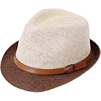Leisial Sombrero del Jazz Paja Sombrero Pequeño Británico Doble Color Sombrero Sol Verano Playa para Unisex Mujer Hombre